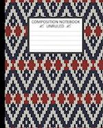 Unruled Composition Notebook 8 X 10, Norwegian Winter Holiday Knitted Pattern