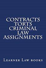 Contracts Torts Criminal Law Assignments