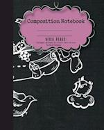 Composition Notebook Wide Ruled Paper, Cute Animal School Notebooks