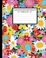 Unruled Composition Notebook 8 X 10. Vector Art Spring Flowers Black Background.