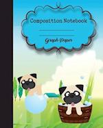 Graph Composition Notebook 8 X 10,120 Pages, Dog Cover Potter Style Seamless Pattern