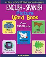 English - Spanish Picture Word Book (Black and White)