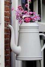 Pink Flowers Arranged in a Coffeepot Journal