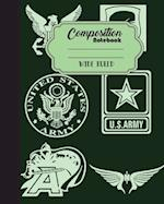 Composition Notebook Wide Ruled Journal Diary Military Army Sign 8 X 10, 120
