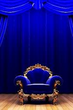 Blue Chair on the Stage with Blue Curtains