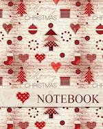 Christmas Notebook, Holiday Notebook, Journal & Notes, Christmas Jotter Book (Happy Christmas Hearts)