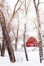 A Red Barn in the Snow Winter Journal