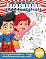 3rd Grade Math Workbooks Superheroes Multiplication Workbook af Math Workbooks