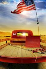 Retro Red Truck with an American Flag Journal