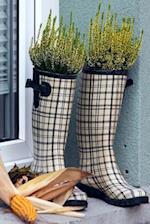 Black and White Plaid Rain Boot Planters Journal