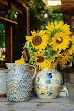 A Bouquet of Yellow Sunflowers in a Ceramic Pitcher Journal