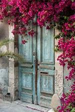 Weathered Blue Door with Flowering Bougainvillea Journal