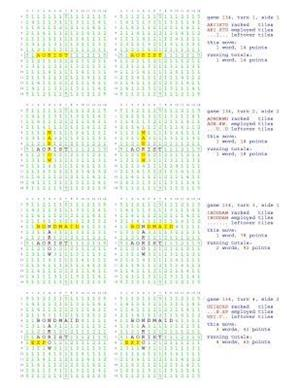 Fifty Scrabble Box Scores Games 101-150