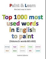 Top 1000 Most Used Words in English to Paint (Volume 9