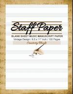Staff Paper Vintage Design Blank Sheet Music