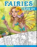 Fairies. Line Art Coloring Book