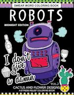 Robots Swear Word Coloring Book Midnight Edition Vol.2