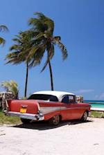 Vintage Red Car on the Beach in Cuba Journal