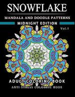 Snowflake Mandala and Doodle Pattern Coloring Book Midnight Edition Vol.1