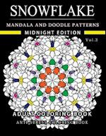 Snowflake Mandala and Doodle Pattern Coloring Book Midnight Edition Vol.3