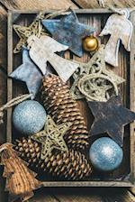 Rustic Chic Holiday Arrangement of Pine Cones and Christmas Ornaments Journal
