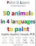 50 Animals in 4 Languages to Paint