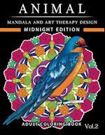 Animal Mandala and Art Therapy Design Midnight Edition
