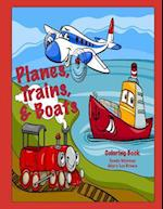 Planes, Trains, & Boats Coloring Book