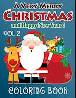 Merry Christmas and Happy New Year Coloring Book - 80 Pages A4 (Volume 2)