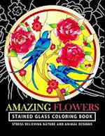 Amazing Flowers Stained Glass Coloring Books for Adults