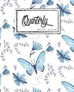 Bullet Journal Dot Grid, Quarterly Guided, Blue Butterfly Effect, Composition Notebook, 8