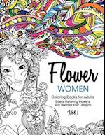 Flower Women Coloring Books for Adults