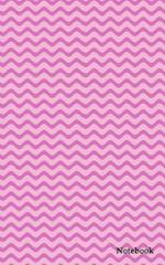 Blank Notebook with 160 Lined Pages Diary Journal 5x8 Pink Chevron Zig Zag Cover