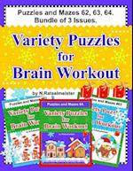 Puzzles and Mazes 62, 63, 64. Bundle of 3 Issues. Variety Puzzles for Brain Workout.