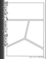 Blank Comic Book Pages-Blank Comic Strips-4 Panels, 8.5