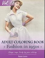 Vintage Fashion 1950's Coloring Book for Stress Relief & Mind Relaxation, Stay Focus Treatment