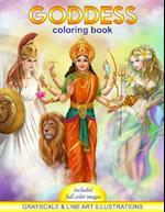 Goddess Coloring Book. Grayscale & Line Art Illustrations