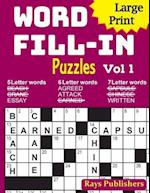 Large Print Word Fill-In Puzzles