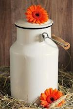 Charming Rustic White Milk Can and Orange Gerber Daisy Flowers Journal