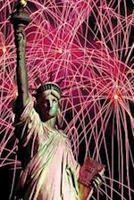 Journal Lady Liberty Fireworks Background Celebration July Fourth Statue