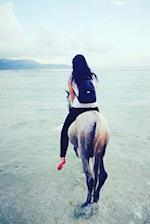 Lovely Woman Riding a Horse on the Beach Journal
