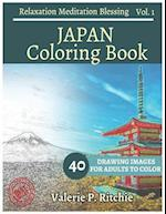 Japan Coloring Book Vol.1 for Grown-Ups for Relaxation 40 Drawing Images + 40 B