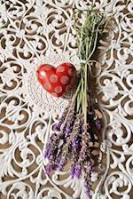A Red Heart on White Lace with Purple Lavender Flowers Journal