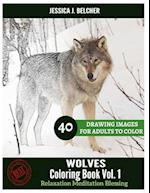 Wolves Coloring Book for Adults Relaxation Vol.1 Meditation Blessing