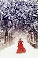 A Mysterious Woman in Red in a Winter Forest Fantasy Illustration Journal
