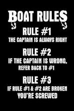 Boat Rules Rule #1 the Captain Is Always Right Rule #2 If the Captain Is Wrong