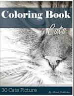 Cat 30 Pictures, Sketch Grey Scale Coloring Book for Kids Adults and Grown Ups