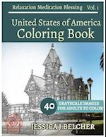 United States of America Coloring Book for Adults Relaxation Vol.1 Meditation B