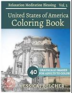 United States of America Coloring Book for Adults Relaxation Vol.2meditation