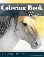 Horse 30 Pictures, Sketch Grey Scale Coloring Book for Kids Adults and Grown Ups